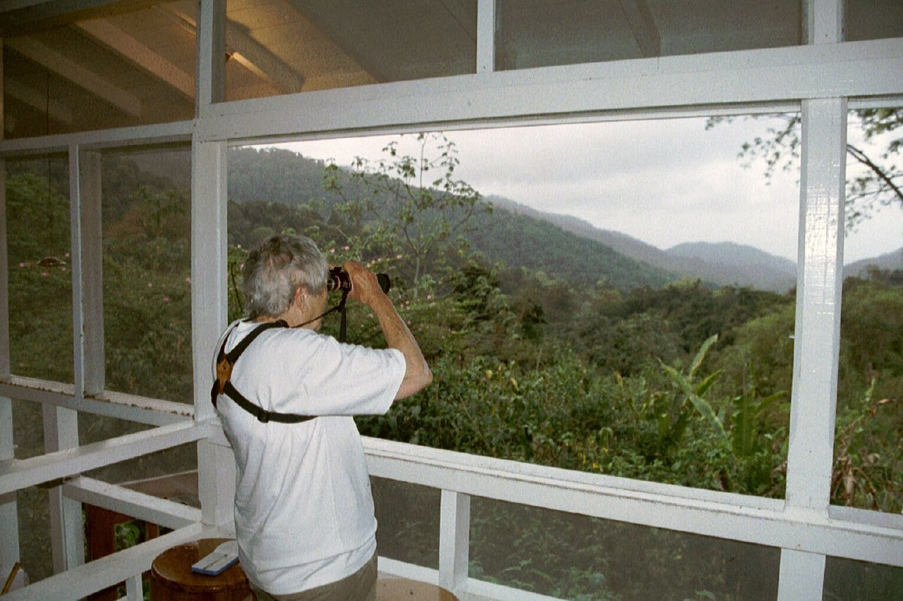 Birdwatcher on the lookout at Asa Wright Nature Centre