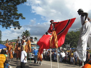 Moko Jumbie (man on stilts) at Trinidad Carnival