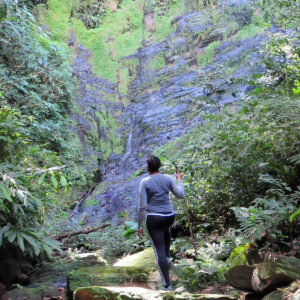 Hiker sees Habio Waterfall for the first time